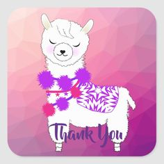 Shop Llama Cute Thank You Square Sticker created by Kids_Birthday_Party. Alpaca Cartoon, Llama Alpaca, Llama Birthday, Purple Birthday, Thank You Stickers, Free Paper, Custom Stickers, Pink Girl, Create Your Own