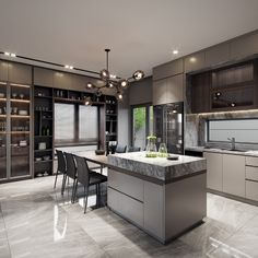 Luxury Kitchen Design, Kitchen Room Design, Contemporary Kitchen Design, Home Decor Kitchen, Interior Design Kitchen, Kitchen Ideas, Interior Modern, Kitchen Designs, Kitchen Living