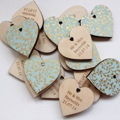 Pack of 10 personalised wedding favour hearts - £5.62 (Write guests name on pattern side so its also a name place?)
