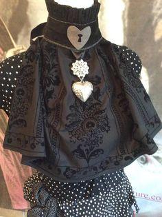 Gothic collar bib neckpiece goth egl keyhole heart victorian Renaissance Pirate, Ruff Collar, Gothic Chokers, Baroque Fashion, Lace Ribbon, Pastel Goth, Gothic Lolita, Black Cotton