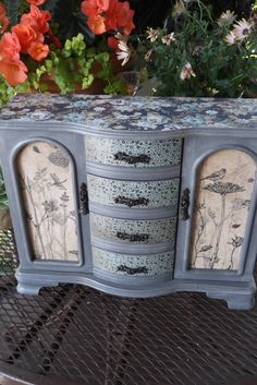 Paris Gray Hand Painted Jewelry Box With French Rose And Botanical Papers