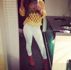 white pants, yellow top