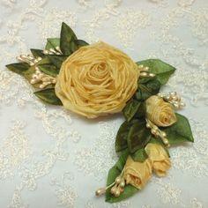 Yellow Ribbonwork Rose Pin Brooch Applique. via Etsy.