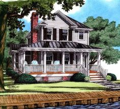 Small,simple,adorable,functional. Cozy Country Farmhouse plan w15000nc