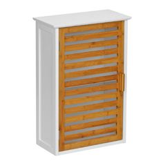 Premier Housewares Bamboo Wall Cabinet - White
