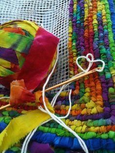 Her first locker hooking project.I love the bright and bold colors she…Locker Hooking - No Link, Picture Only, for ideas Yarn Crafts, Fabric Crafts, Sewing Crafts, Locker Hooking, Rug Hooking, Crochet Projects, Sewing Projects, Braided Rugs, Woven Rug