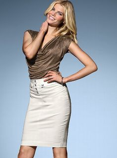 VS high waisted pencil skirt, in light khaki and black, LOVE the button details!