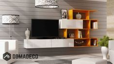 Domovero Vero Style Modern wall units with shelves/Contemporary living room furniture Color (Black & Green) Contemporary Living Room Furniture, Colorful Furniture, Living Room Modern, Modern Tv Wall Units, Modern Wall, Entertainment Center Furniture, Entertainment Stand, Media Wall Unit, Wall Shelving Units
