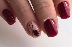 Nails Art Simple Fashion New Ideas Maroon Nail Designs, New Nail Designs, Dark Red Nails, Maroon Nails, Art Simple, Red Nail Polish, Super Nails, Stylish Nails, French Nails