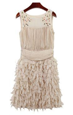 beaded round neck tank dress