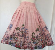 Vintage 1950s Pink Oriental Novelty Print Full Skirt with Cherry Blossoms Large Size