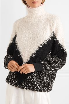 Black and cream mohair-blend bouclé Slips on mohair, wool, polyamide Dry clean Made in Italy Pullover Design, Sweater Design, Givenchy, Thick Sweaters, Zig Zag Pattern, Loom Knitting, Straight Leg Pants, Costume Design, Knitwear