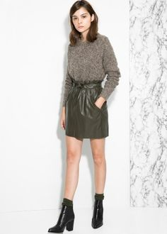 Adjustable bow skirt - Leather trends for Women | MANGO