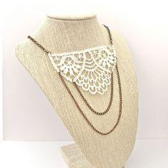 Vintage Style Necklace Lace Necklace Ivory Necklace by pxydst, $20.00