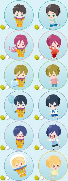 [Official Art] Free! Eternal Summer - Collection of voice code chibi artwork from the Taito ~Sugar Cake~ kuji site