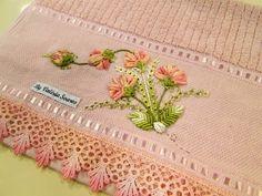 modelos de toalhas com bordados de flores de fita - Pesquisa Google