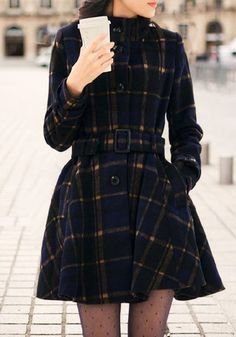 Plaid Faux Wool Coat- With Button Closure