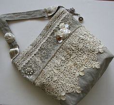 Romantic Rustic OOAK Vintage Linen Shoulder Bag...SO much antique lace