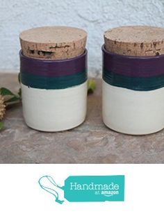 Kitchen Canister set handmade ceramic purple and teal container from Manuela Marino Ceramic https://www.amazon.com/dp/B01N6HR4EA/ref=hnd_sw_r_pi_dp_hGGJyb1NQ2DEP #handmadeatamazon