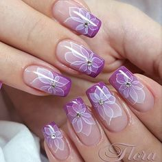 >>>Visit>> How To Do Ombre Nails With Purple Floral Art ❤️ Everyone knows how to ombre nails these days right? But we know how to take the regular ombre to the next level.Amazing Ideas How To Ombre Nails For Your InspirationWhen it comes to how Purple Nail Art, Flower Nail Art, Super Nails, Fabulous Nails, Cool Nail Designs, Cool Nail Art, Trendy Nails, Spring Nails, Wedding Nails