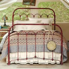 Dishfunctional Designs: Vintage Red Painted Furniture -- I just recently painted my vintage iron bed this color like this one. Red Painted Furniture, Furniture Decor, Painted Iron Beds, Furniture Vintage, Wicker Furniture, Painting Furniture, Bedroom Furniture, Home Bedroom, Bedroom Decor