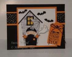Oh my......I have another upcoming Holiday Catalog sneak peek for you.  Check out this spooky haunted house Halloween card.  I think I got...