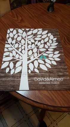 Rustic Wood Wedding Tree Print | Guest Book Alternative | Rustic Wedding | Customer Photo | Wedding Color - Teal | peachwik.com