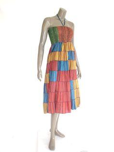 Mix Warm Colors Women Short Cotton Patches Dress & by NaniFashion, $39.99