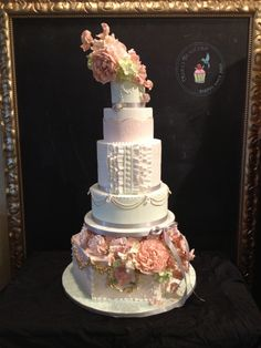 Marie Antoinette inspired wedding cake featuring handmade jewels, sugar flowers and hand painting, created by Reva Alexander-Hawk for Merci Beaucoup Cakes  #nercicakes #sugarrose #frenchcake