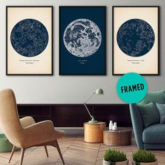 This framed set of 3 astronomy prints adds elegance to any room. Youll get star maps of the Northern and Southern hemispheres, as well as a gorgeous chart of the moon. The prints are adapted from rare scientific illustrations that Ive lovingly restored. Ive also antiqued the backgrounds