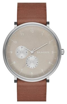 Free shipping and returns on Skagen 'Hald' Multifunction Leather Strap Watch, 40mm at Nordstrom.com. A subdial duo displays the date and 24-hour time on the clean, crisp dial of a refined leather-strap watch.