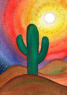 Voy a convertirme en miel - Alejandra Spano Succulents Drawing, Cactus Drawing, Cactus Painting, Cactus Art, Cactus Plants, Mexican Paintings, Inspiration Art, Desert Art, Southwest Art