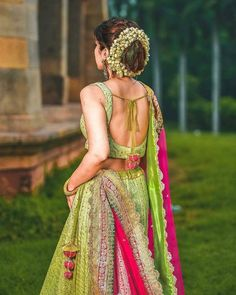 Are you bored of seeing those same reds and pinks lehenga design and are looking for something unique and something off-beat? Then Lime green lehenga design is all set to amuse you with its beauty! Indian Bridal Lehenga, Indian Bridal Fashion, Indian Wedding Outfits, Bridal Outfits, Indian Outfits, Wedding Dresses, Wedding Wear, Wedding Events, Designer Bridal Lehenga