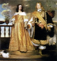 FASION OF 1653 - Magnus Gabriel De la Gardie och hustru Maria Eufrosyne by Hendrik Münnichhoven This could be a wedding portrait. The waistline is not very different from those worn by Queen Henrietta Maria a few decades earlier. 17th Century Clothing, 17th Century Fashion, 17th Century Art, Gabriel, Historical Costume, Historical Clothing, Henrietta Maria, Baroque Fashion, Fashion History