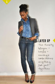 """""""Texas Tuxedo, Double Denim, Blue Jean Baby…"""" Denim top and jeans layered with blazer, and accessorized with jewelry, belt, heels."""