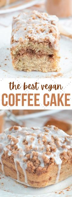 The best ever vegan coffee cake recipe with a brown sugar and cinnamon crumb topping, moist cake center and light and sweet glaze on top! #vegancoffeecake #vegancake #vegandesserts #coffeecake Healthy Vegan Desserts, Vegan Dessert Recipes, Delicious Vegan Recipes, Delicious Desserts, Cake Recipes, Breakfast Recipes, Eggless Coffee Cake Recipe, Vegan Coffee Cakes, Cinnamon Dolce Latte