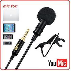 Clip On Lavalier Lapel Microphone Professional Recording for Smartphone Tablet #YouMic