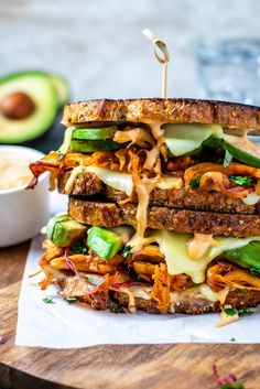 When I make sandwiches I don't mess around. These Chipotle Chicken Avocado Melts are loaded up. via FoodPorn on November 08 2018 at Chicken Avacado, Chipotle Chicken, Chicken Bacon, Chicken Recipes, Shredded Chicken, Vegetable Recipes, Deli Sandwiches, Sandwich Recipes, Dinner Sandwiches
