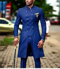African Shirts For Men, African Wear Styles For Men, African Dresses Men, African Attire For Men, African Clothing For Men, African Style, African Women, African Wedding Attire, Blue Suit Wedding