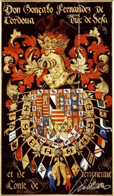 "(217) Gonzalo Fernandez de CORDOBA, 3e duc de Sesa (1520-1578) -- ""Don Gonçalo Fernandes de Cordoua, duc de Sesa et de Terreneuve, conte de Labra""-- Armorial plate from the Order of the Golden Fleece, 1559, Saint Bavo Cathedral, Gent"