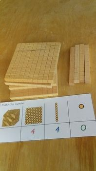 Montessori math: Golden Beads 'Make me' for Bank Game. constructing numbers. Montessori Math, Montessori Elementary, Elementary Math, Bank Games, Task Cards, How To Make Beads, Math Lessons, Numbers