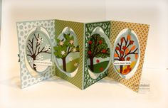 Fran Sabad with a stunning Oval Accordion Pop it Ups card (by Karen Burniston for Elizabeth Craft Designs) decorated with Oval Flourish and Oval Dots Frame Edges and the All Seasons Tree (for all seasons!) - stampersblog: All Seasons Thank You