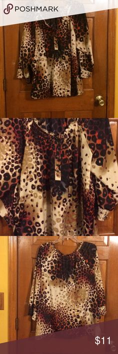 EUC, wore once , Beautiful color & design, Botton EUC, wore once , Beautiful color & design, Botton in front, quarter length sleeves, very cute. new directions Tops Blouses