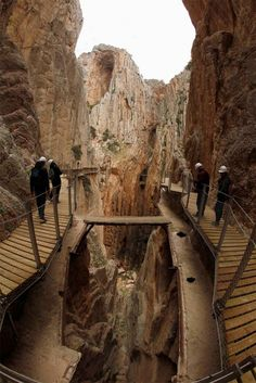 Spain - The Caminito del Rey (Petit Chemin du Roi) was an abandoned road constructed on a cliffside in the Natural Park of Los Ardales in the south of Spain between 1901 and 1905 to allow the construction of two hydroelectric dams.