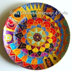 Items similar to MANDALA-glazed porcelain plate on Etsy Mandala, Decorative Plates, Unique Jewelry, Tableware, Handmade Gifts, Etsy, Vintage, Home Decor, Fonts