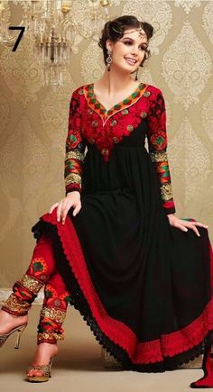 Georgette+Machine+Work+Black+Semi+Stitched+Long+Anarkali+Suit+-+L09 at Rs 1348