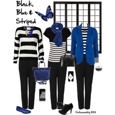 """""""Black, blue and striped"""" 3 looks for work"""