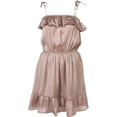 Satil Frill Dress By Parasol (€13) ❤ liked on Polyvore featuring dresses, vestidos, women, flutter dress, flouncy dress, frilly dress, ruffle dress and brown ruffle dress