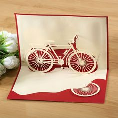 3D Pop Up Card Bicycle Birthday Christmas Holiday Season's Greeting Postcards #Unbranded