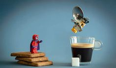 LEGO minifigs go on tiny, real life adventures by interacting with everyday objects 'Samsofy' Figure Photography, Lego Photography, Miniature Photography, Lego Minifigs, Lego Duplo, Lego Technic, Lego Sets, Pokemon Lego, Figurine Lego